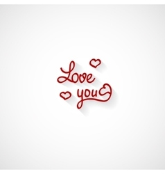 Love you lettering Valentine design vector image