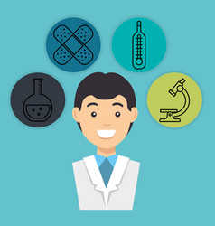 Male doctor with medical icons vector