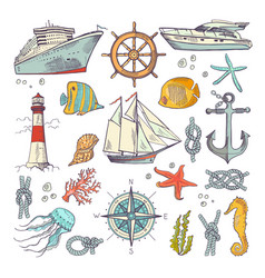 marine coloring doodle set with different nautical vector image