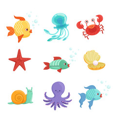 Marine set with underwater plants and sea fishes vector