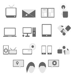 Media and communication icons on white background vector