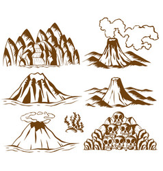 Mountains and volcano on white background vector