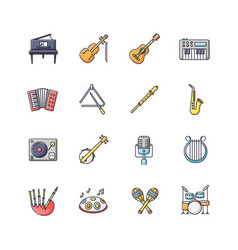 orchestral instrument rgb color icons set vector image