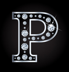 P letter made with diamonds isolated on vector