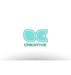 pastel green alphabet letter oc o c combination vector image