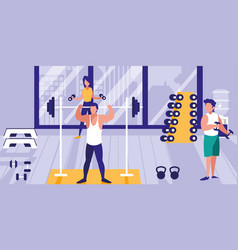 people lifting weights in gym icon vector image