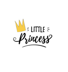 Phrase little princess cute girly sticker with vector