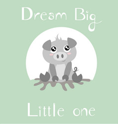 Piglet with full baby green background vector