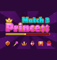 princess girlish loading match3 games game assets vector image