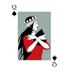 Queen spades wearing a crown surrounded by vector