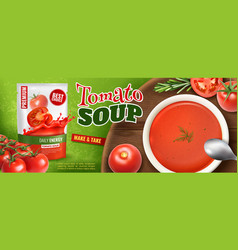 realistic tomato soup ad vector image