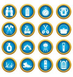 Recreation tourism icons blue circle set vector