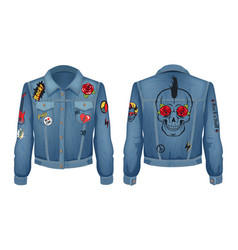 Rock jacket of denim cloth vector