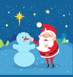 Santa claus near snowman winter evening city vector