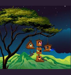 scene with birdhouse hanging on tree vector image