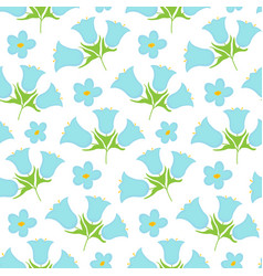 seamless pattern bellflower flowers vector image