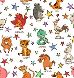 Seamless Pattern of Chinese Zodiac Animals Signs vector