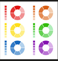 Set of circular spectrum wheels rounded diagrams vector