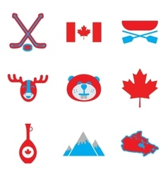 Set of flat icons on white background Canada vector