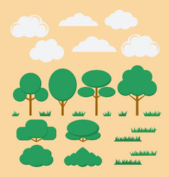set of flat trees bushesgrass and clouds vector image