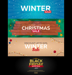 set winter sale posters black friday christmas vector image