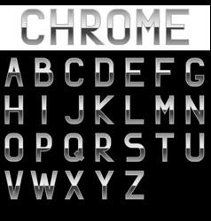 Silver regular font set on black background vector