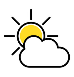 simple icon sun and cloud vector image