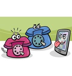 smartphone with retro phones cartoon vector image