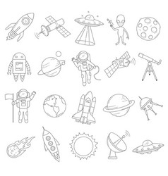 space object set vector image