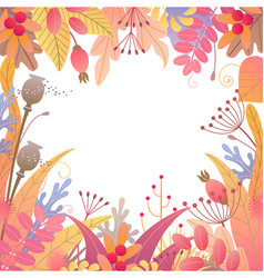 Square floral frame with autumn plants vector