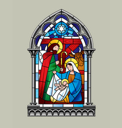 Stained glass window christmas scene vector