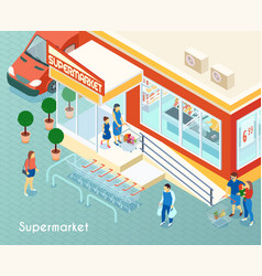 supermarket outdoor isometric background vector image
