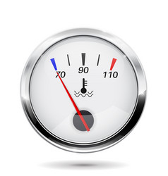 Temperature gauge round gauge with chrome frame vector