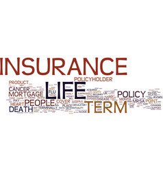 term life insurance with return of premium text vector image