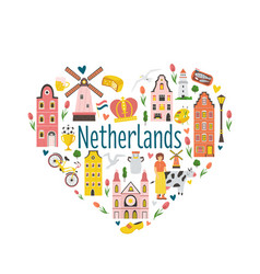 Tourist poster card with symbols netherlands vector