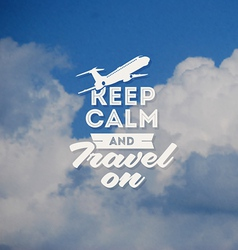 Travel type design with clouds background vector