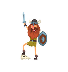 Viking celebrating victory with sword and shield vector
