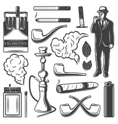 Vintage smoking elements collection vector