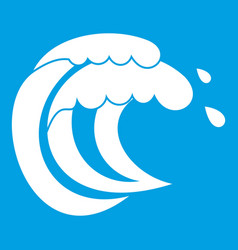 Wave of sea tide icon white vector