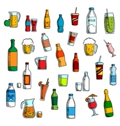 Beverages cocktails and drinks sketches vector image vector image