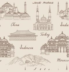 travel asia background world famous landmark vector image vector image