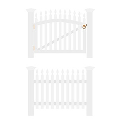 White fence and gate vector image vector image