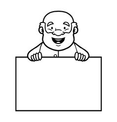 Black and white old man holding a blank sign vector image