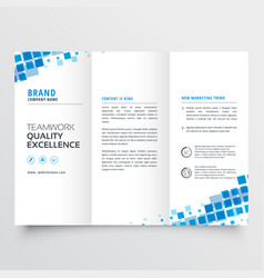 Clean tri-fold brochure template design with blue vector
