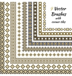 Decorative brushes with inner and outer vector image