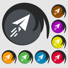 Paper airplane icon sign Symbol on eight colored vector image