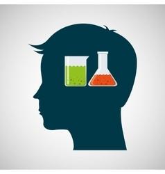 silhouette head laboratory test tube vector image