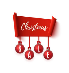christmas sale banner isolated on white vector image vector image