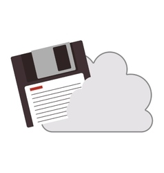 cloud with diskette icon vector image vector image