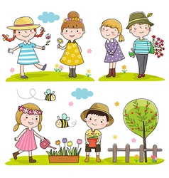 Collection of happy kids outdoor in spring season vector image